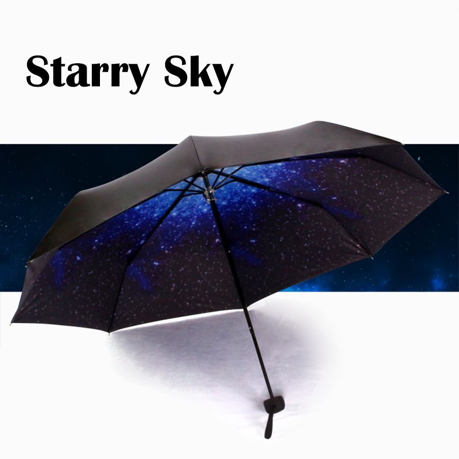 starry sky anti uv sun shading sunscreen vinyl folding sun umbrella blue black fashion new. Black Bedroom Furniture Sets. Home Design Ideas