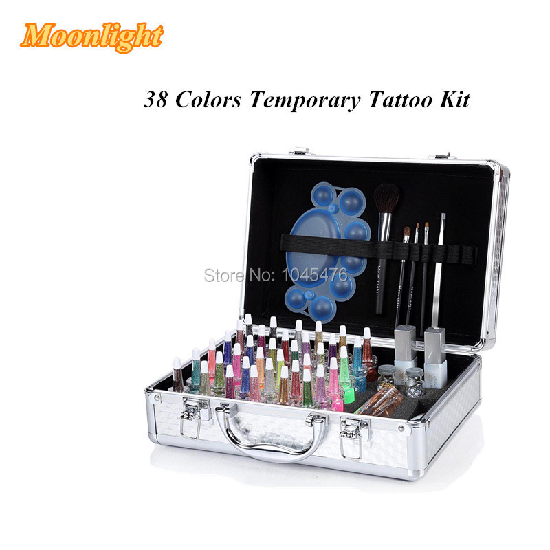 Free shipping 38 colors Temporary Glitter Tattoo Kit With Diamond Powder -Professional Body Painting set-body art supply(China (Mainland))