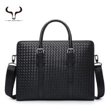 New arrived brand designer's men's Weave messenger bags Dress plaid business briefcase for male high quality bags(China (Mainland))