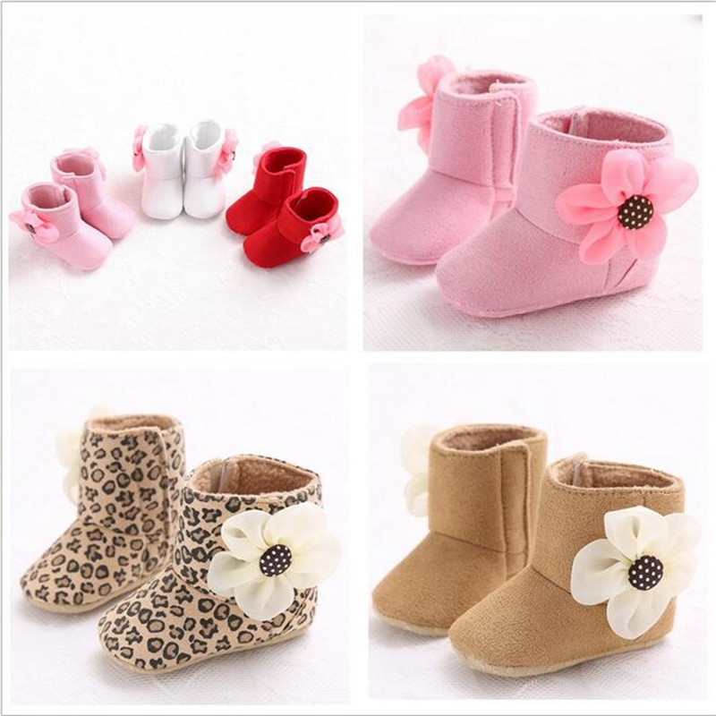 2016 Hot Sale flower Infant Kids Baby Girl High Boots Soft Bottom Anti-slip Walking Shoes 5 colors(China (Mainland))
