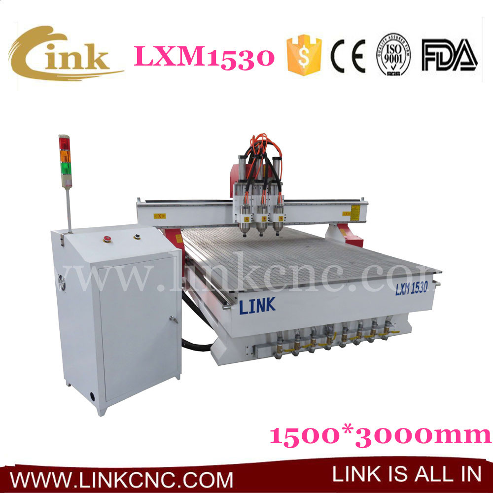 LXM1530 best reputation cnc router wood carving machine for sale, three heads+vacuum table LINK 1530 cnc router(China (Mainland))