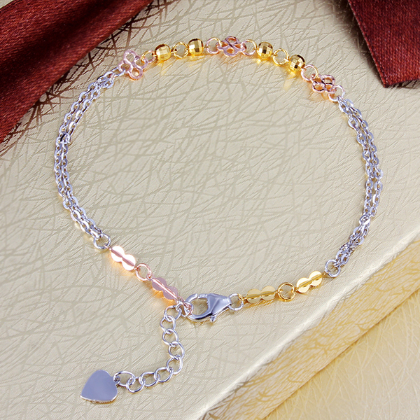 2015 new S925 pure silver bracelet multi-layer Women brief double chain hand accessories honey birthday gift hot sale(China (Mainland))