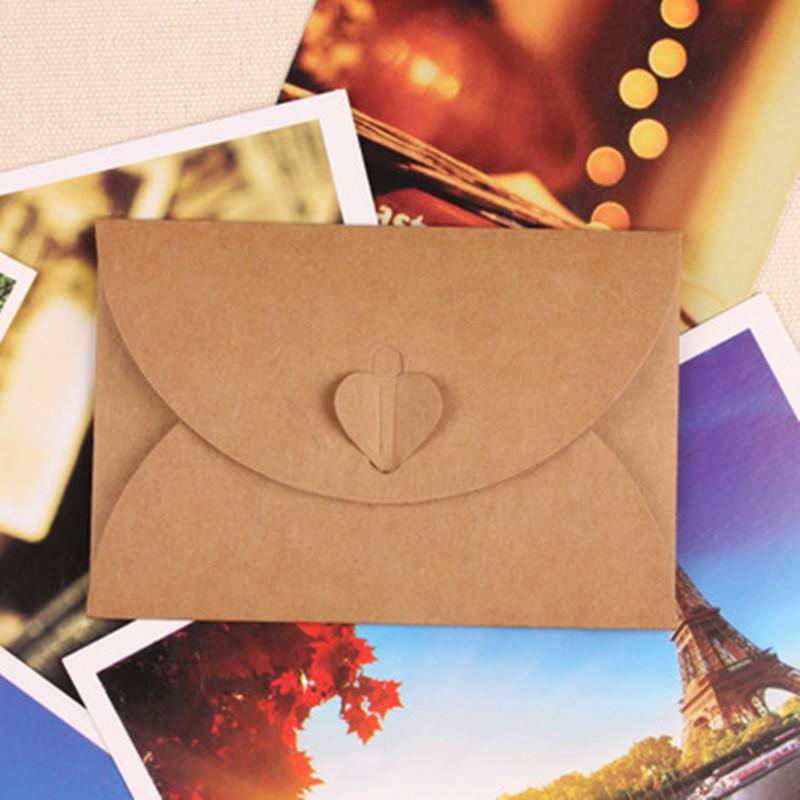 DHL 400Pcs/ Lot 7.2*10.5cm Mini Card Kraft Paper Envelope Heart Interlocking Brown Kraft Paper Gift Wishes Small Card Envelopes<br><br>Aliexpress