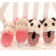 Autumn plaid Panda Cute Polka Dot Lace sweet cat dragged home warm slippers plush at home slipper shoes woman 2013 free shipping(China (Mainland))