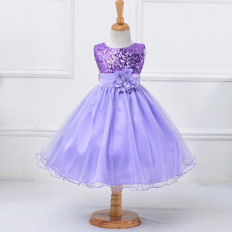 Princess Girl O-neck Sleeveless Sequined Floral Ball Gown Party ...