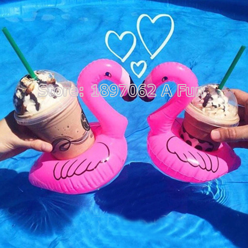2017 New 5Pcs/Lot Mini Cute Pink Flamingo Floating Inflatable Drink Can Holder Pool Bath Toy Pool Swim Ring Water Fun Pool Toys(China (Mainland))