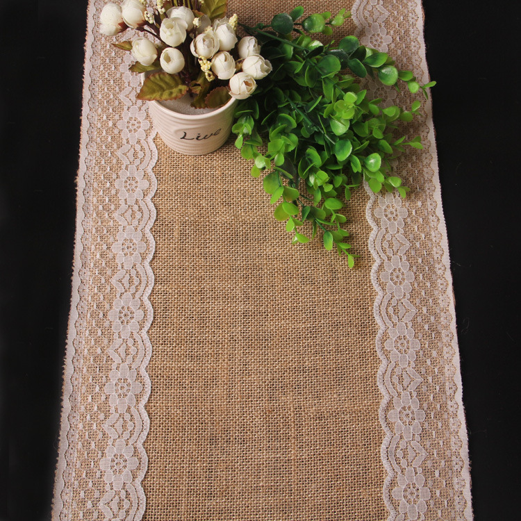 2016 New Arrival 100% Burlap Table Runner Embroidered Knitted Floral Table Runner 72 Inch(China (Mainland))
