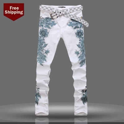 Hot-selling painted white printed jeans 2015 Spring and Autumn fashion Korean slim stretch nightclub singer boutique men jeansОдежда и ак�е��уары<br><br><br>Aliexpress