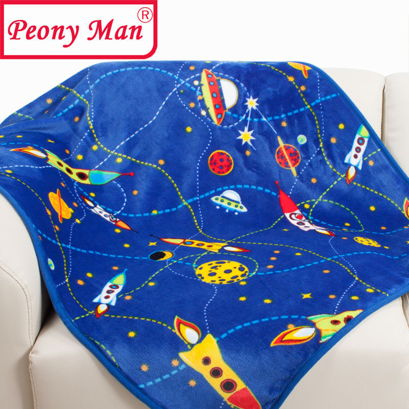 2015 New Hot Flannel Baby Blanket 100*140cm Peony Man Brand Cartoon Soft Blankets Child Sheet Thick Warm Winter Fleece Cobertor(China (Mainland))