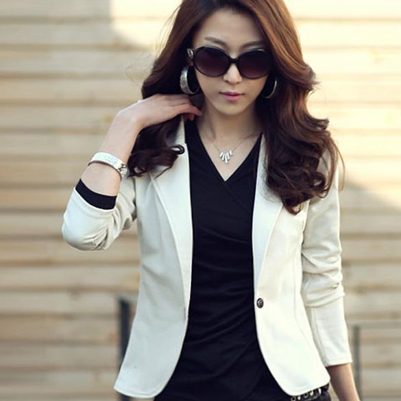 Женщины пр куртка пальто нагрудные один пуговица длинный рукав короткая костюм блейзер пиджаки fb