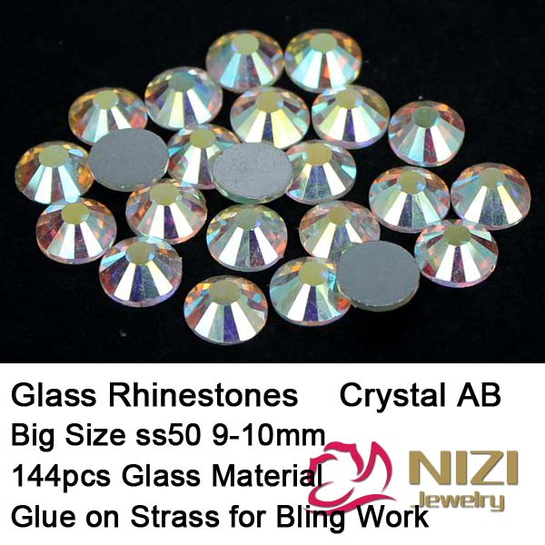 Beauty Glitter picture of Strass Rhinestones ss50 9-10mm 144pcs Crystal Clear AB For 3D Nails Stickers Art Backpack Decorations(China (Mainland))