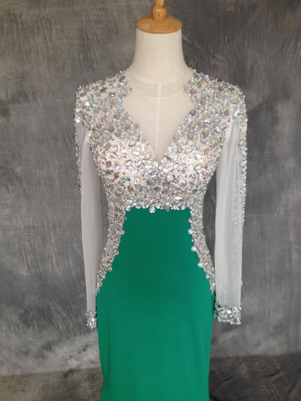 green vestido de formatura 2015 diamond prom dresses with