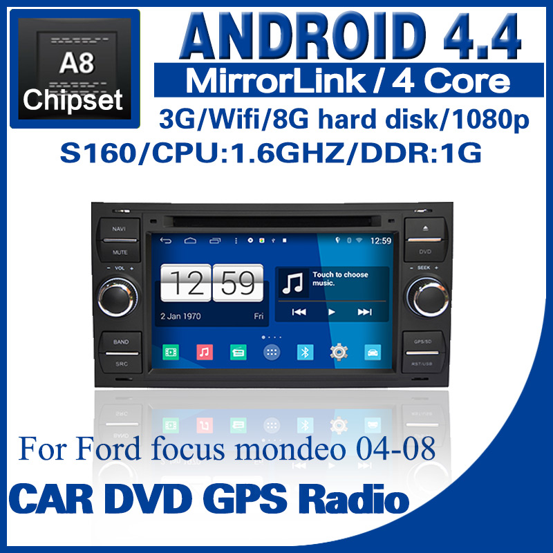 wholesale Android 4.4 car dvd for Ford focus mondeo s160 with radio GPS BT TV USB SD 3G Wifi steering wheel Free shipping 1290A(China (Mainland))