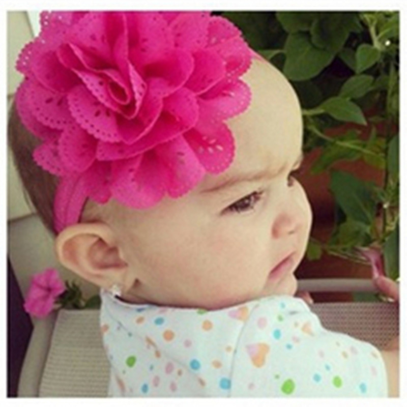 1PCS Retail Baby Flower Headband / Girls Flower Hair Bow / Baby Girl eyelet flower Headband / 12 color Free shipping D3(China (Mainland))