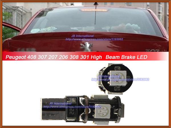 6pcs/lot ,High Position Brake Light Peugeot 3008,High Bright No Error Canbus T10 W5W 168 921 led lights(China (Mainland))