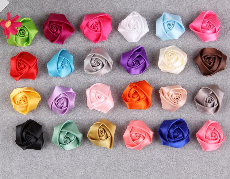 40mm Satin Ribbon Rose Flower Bud Appliques Wedding Craft/brooch/doll/dress/sew Diy Handmade Flowers Headwear Free Shipping(China (Mainland))