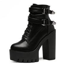 Gdgydh Frühling Herbst Mode Frauen Stiefel High Heels Plattform Schnalle Lace Up Leder Kurze Booties Schwarz Damen Schuhe Förderung(China)