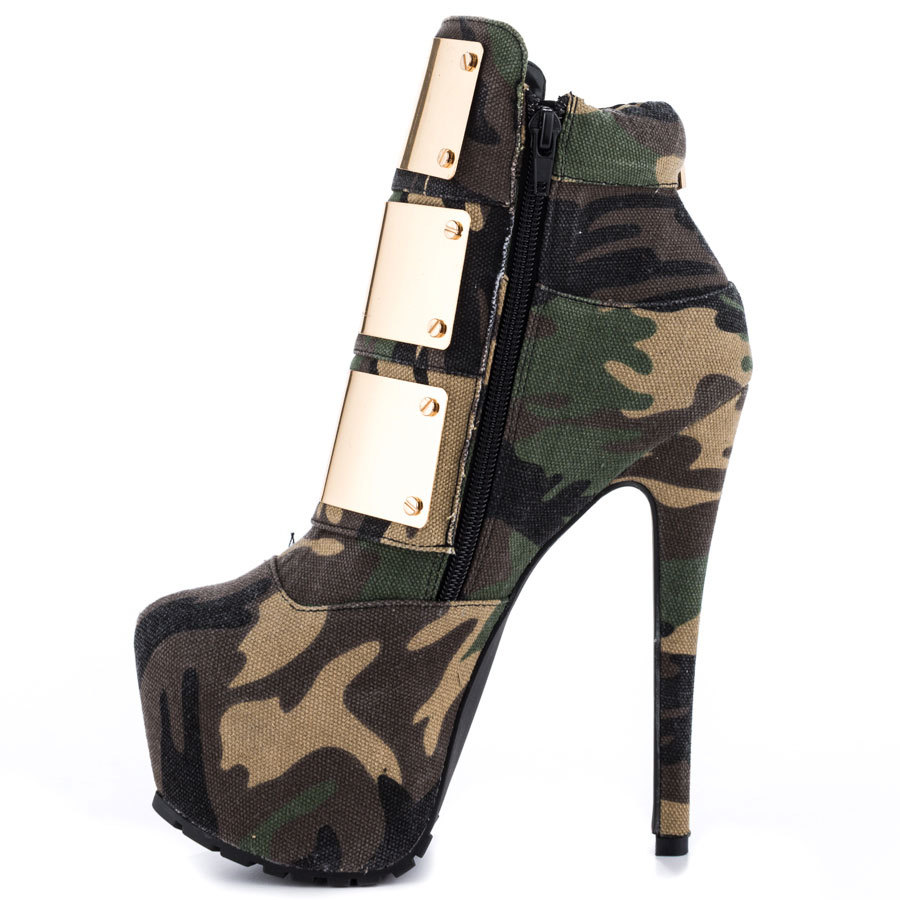 Fashion Designer Brands 2014 New Women Camouflage Glitter Canvas High Heels Glitter Buckle Zip High Quality Ankle Boots Pumps<br><br>Aliexpress
