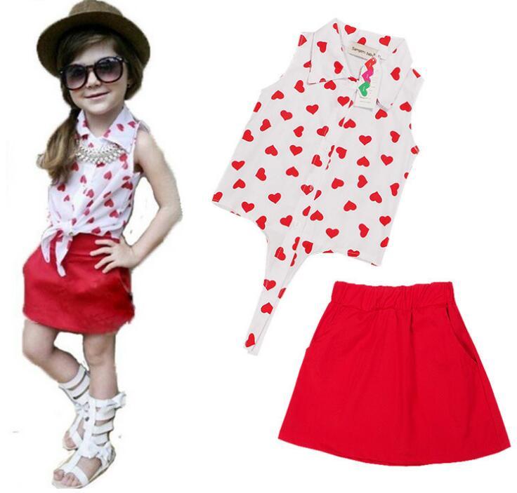 6sets/lot toddler girls clothing sets F1800 (shirt +skirt ) love heart print baby kids set 0119 sylvia it(China (Mainland))