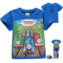 Thomas and Friend Boys T-shirt New Summer Short Sleeve Cotton Boys T Shirt Cotton Toddler Baby Kids Cartoon Tops Tees(China (Mainland))