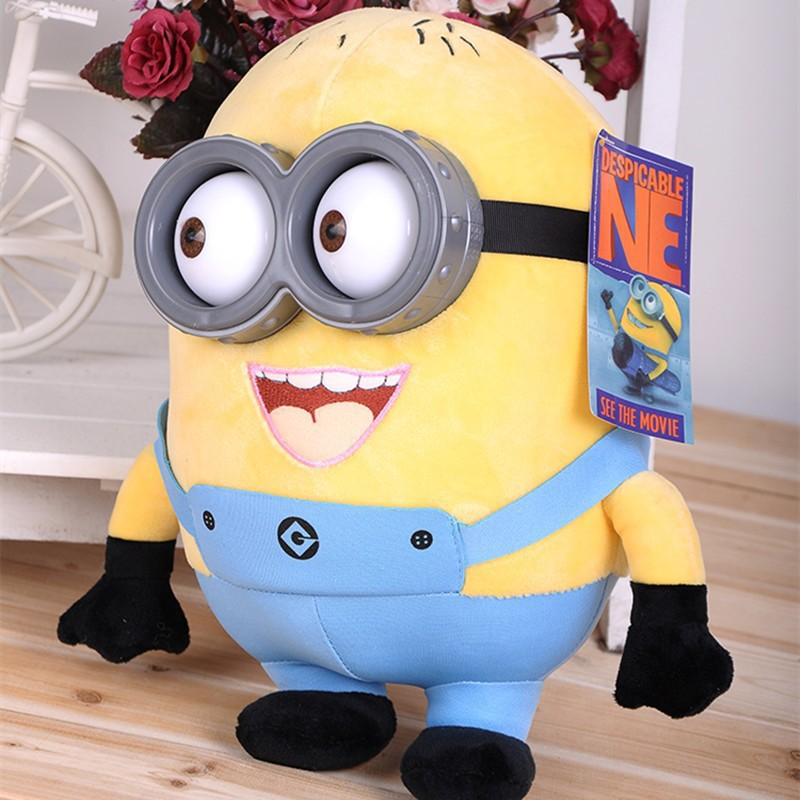 Minion toys despicable me Creative Minions 3D eyes yellow doll Children gift toys home decors free shipping(China (Mainland))