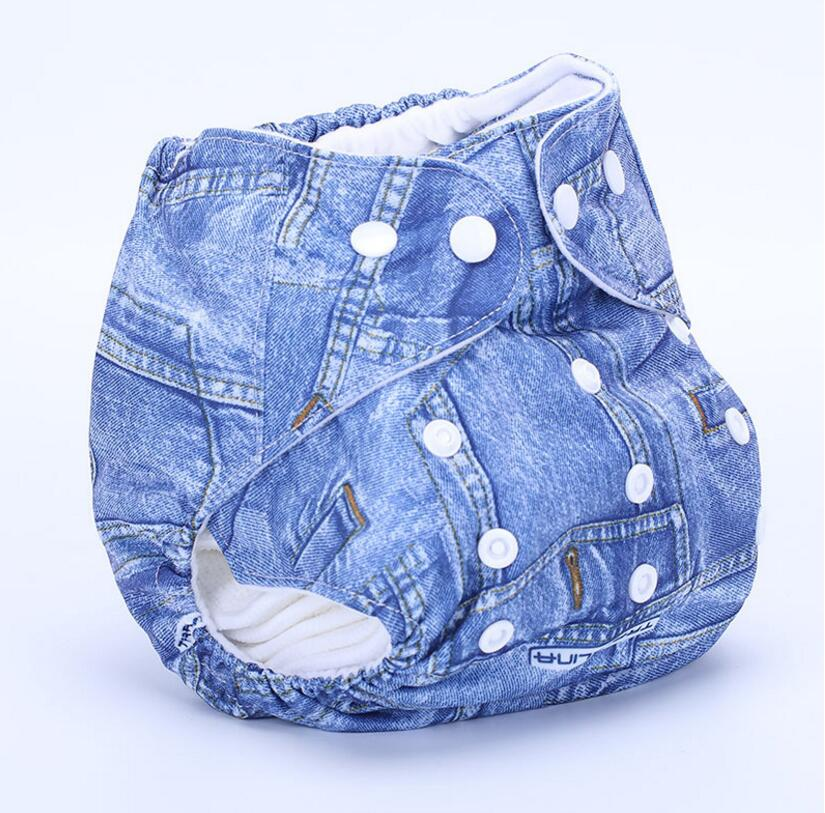 The new waterproof adult diaper wash diapers denim printed cloth diapers Free size Adult Diapers SY24D5(China (Mainland))