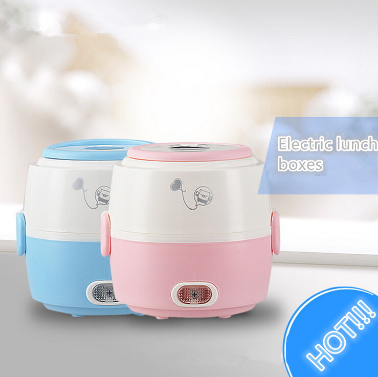 New mini rice cooker cylinder electric lunch boxes cooking tools stainless steel rice cooker lunch boxes OEM I-21 Free shipping(China (Mainland))