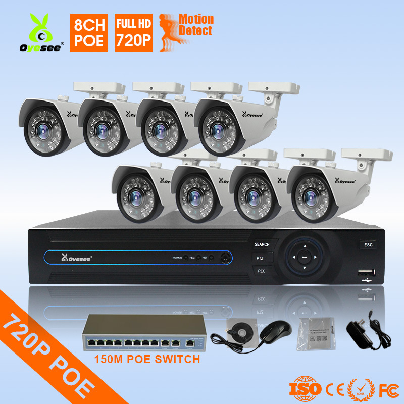 720P 8ch POE built in IP camera NVR kit 150m POE switch inclu