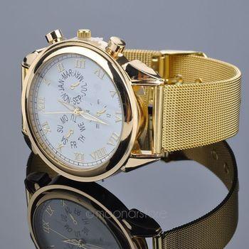 2016 Gold Color Metal Alloy Women Quartz Analog Sport Wrist Watch Women Watch *30