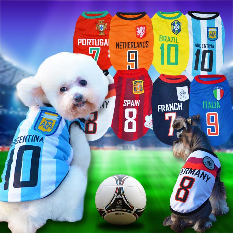 Eight sizes small medium big Dog cat pet vest Clothes Sportswear summer World Cup Football dog puppy T shirt dog soccer jersey(China (Mainland))