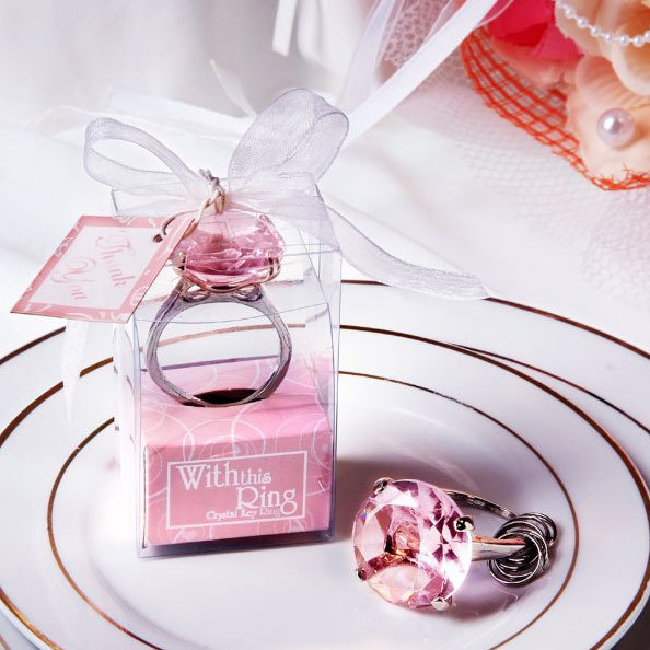 Free Shipping 100pcs/iot With this Ring Keychain White Key Chain Wedding Favors and gifts
