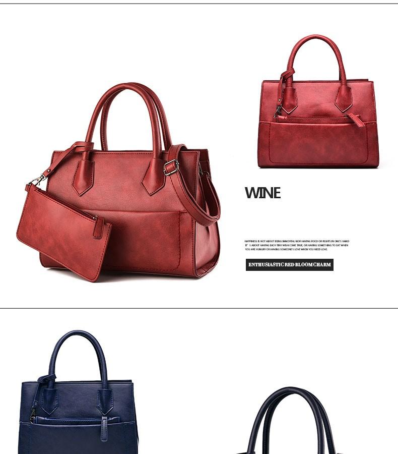 Vintage Lady Handbag Chic Composite Bag Occident Style Luxury Designer PU Leather Women Classy Shoulder Bag Attached Clutch Bag