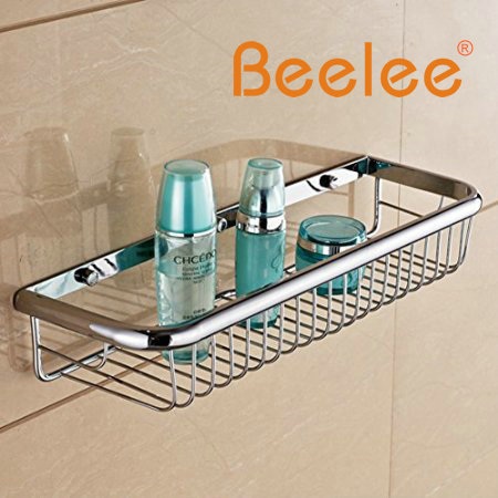 Beelee Wall Mounted Rectangle Shower Wire Basket Soap Caddy Cosmetic Holder Toilet Paper Shelf Robe Holder Accessories(China (Mainland))