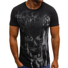 3D футболка для мужчин лето 2019 с принтом черепа О-образным вырезом с коротким рукавом Забавные Футболки Уличная фитнес одежда футболка Homme(China)