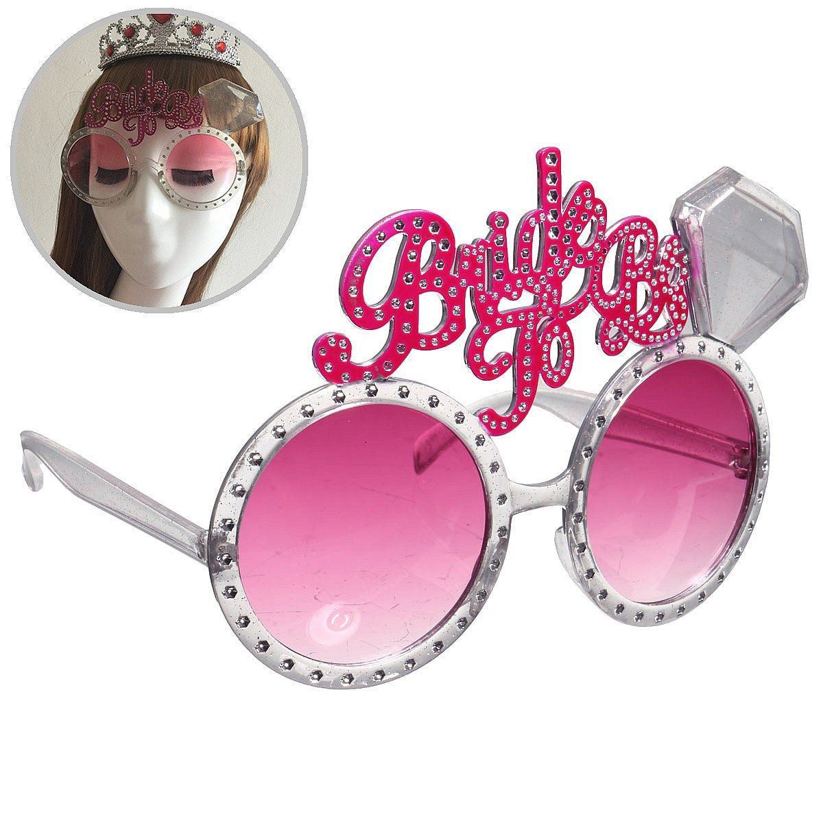 Party Bachelorette Party Bride To Be Party Glasses Costume Accessory Pink Hen Decoration Plastic Glasses Acryl Diamond(China (Mainland))