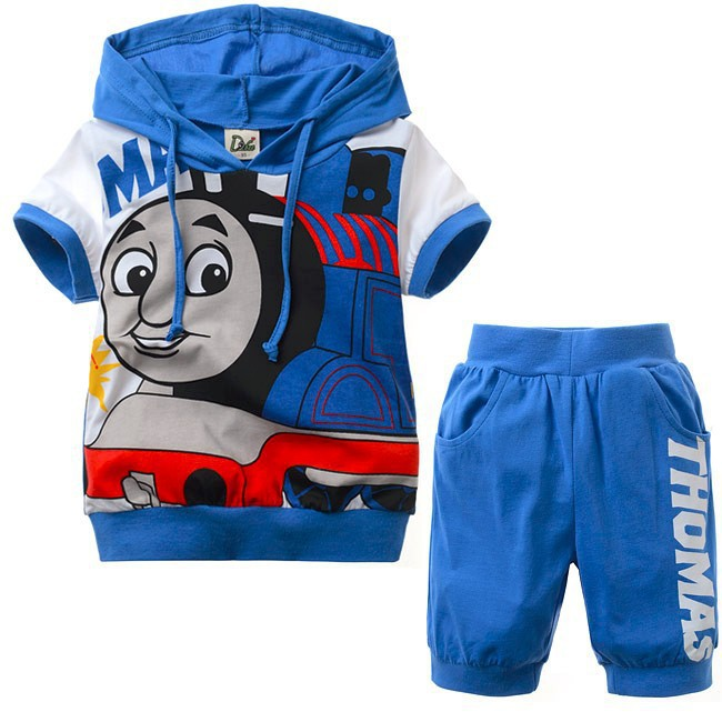 1 Set/lot New 2 Pcs children sets Thomas kids boys clothes hoodies t shit+pants summer child baby boy twinset clothing(China (Mainland))