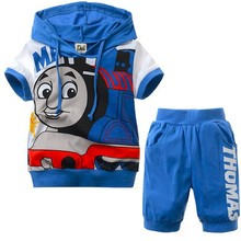 1 Set/lot New 2 Pcs children sets Thomas kids boys clothes hoodies t shit+pants summer child baby boy twinset clothing(China (Mainland))