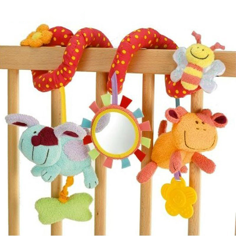 Cartoon Plush Animal Activity Stroller Toys Infant Baby Cirb Prams Hanging Baby Rattle With Teether Newborn Musical Spiral Toys(China (Mainland))