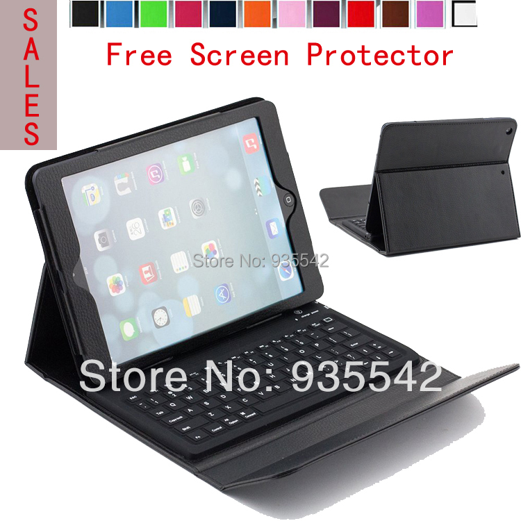 Wireless Bluetooth Silicone QWERTY Keyboard  PU Leather Cover Stand Case for Apple iPad AIR iPad 5 - 9.7 inch Tablet ( Black )<br><br>Aliexpress