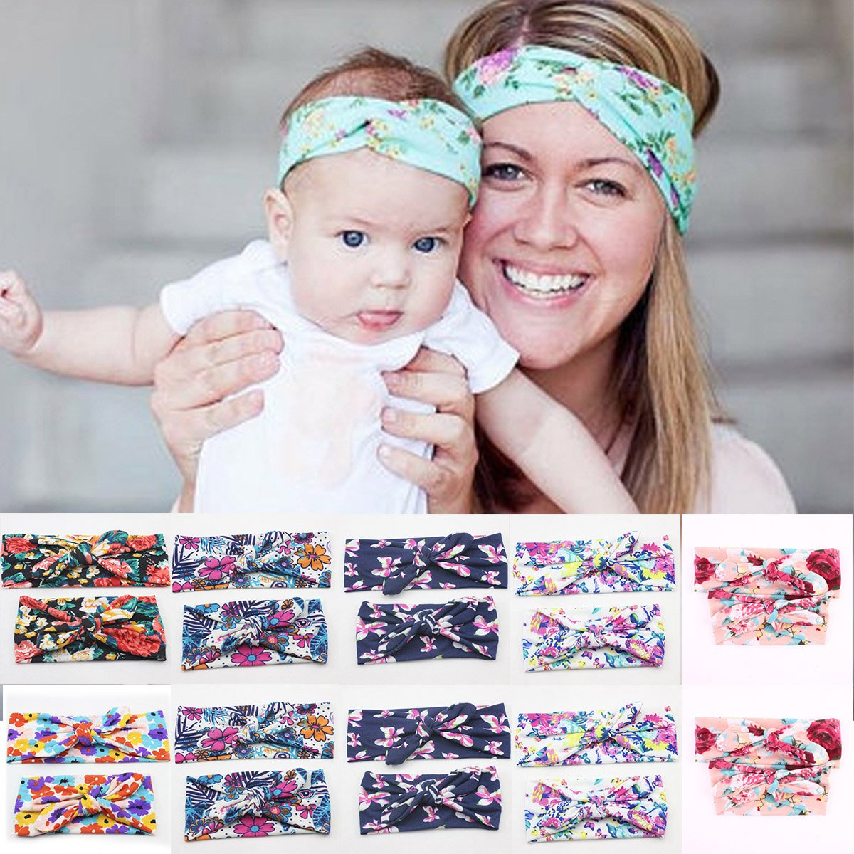 Puseky Baby Girl Toddlers Kids Cute Stretchy Turban Bright Colors Fruit Pattern Headband