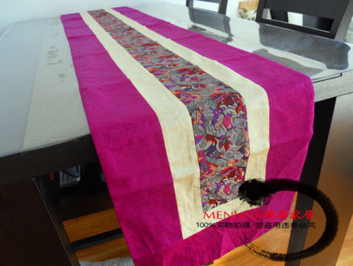 200*33cm Noble Chinese Vintage Mixed Brocade& Silk Beautiful Rose Red Table Runner Cloth& Bed Flag(China (Mainland))