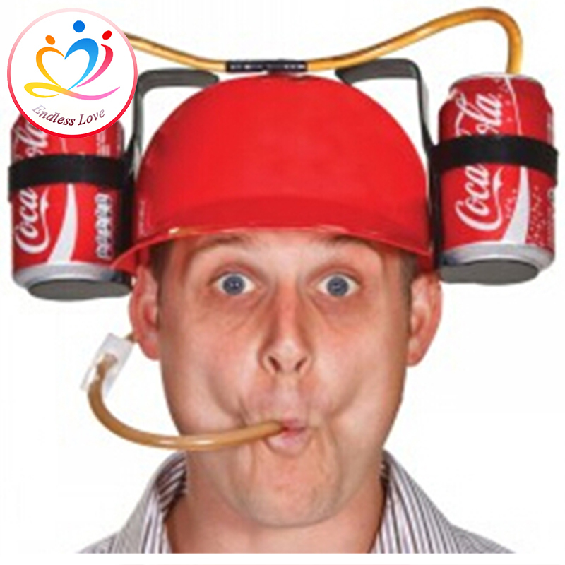 Beer Can Helmet Hat, Creative Beer Can Holder Straw Drinking Helmet Hat Cap Black Red Blue 3 Colors For Party Game Free Shipping(China (Mainland))