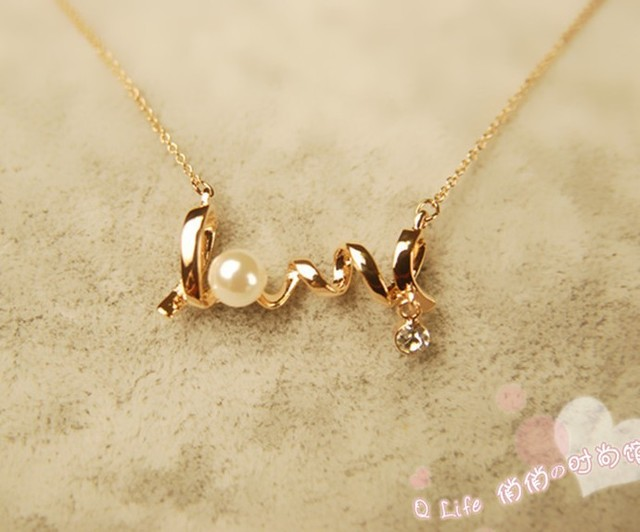 Free shipping Min Order$20 ,Fashion jewelry, 18K Gold Exquisite Love Letters Long Chain Pendent Necklace for Girls or Women