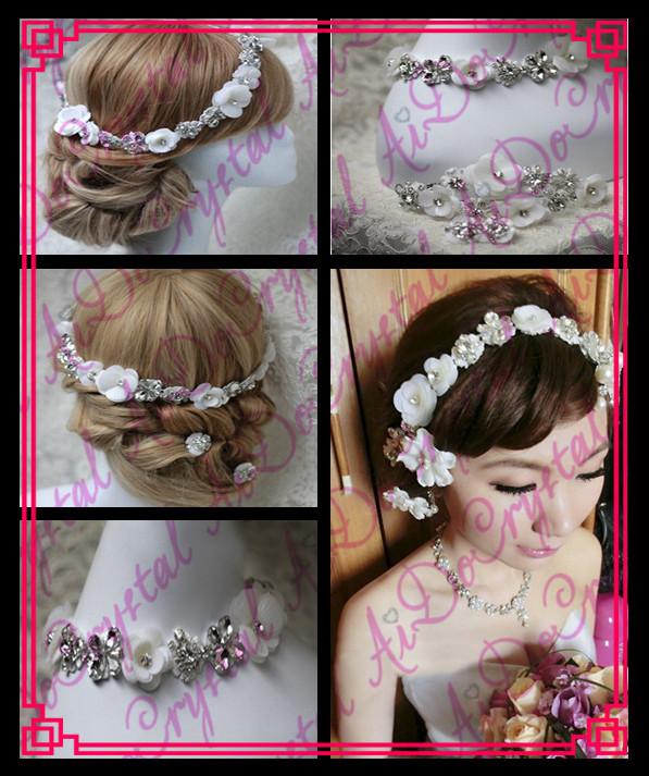 Aidocrystal white indian headpiece,designer wedding garland headpieces(China (Mainland))