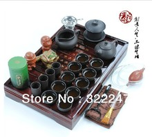 Freeshipping Hot sale Ordovician tea set yixing ceramic kungfu tea set 27pcs solid wood tea tray kungfu tea set+  gift