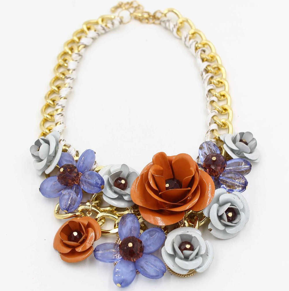 2015 NK005 European and American Hot 964 flowers exaggerated pendant necklace fashion jewelry manufacturers, wholesale pd(China (Mainland))