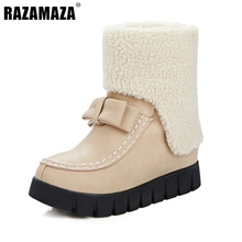 Buy Russia Women Round Toe Muffin Ankle Snow Boots New Design Bowtie Bowknot Shoes Woman Warm Fur Winter Botas Feminina Size 33-43 for $52.35 in AliExpress store