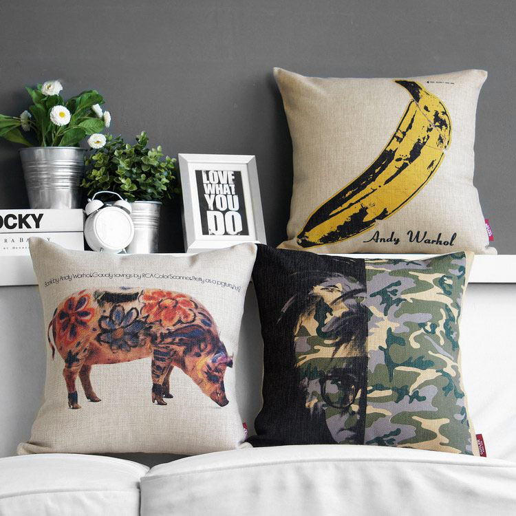 Free shipping Pop Art Andy Warhol Painting Banana flower pig camouflage portrait Pattern cushion cover decor throw pillow case(China (Mainland))
