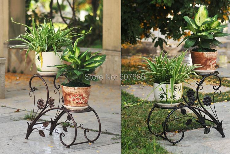 Nueva hierro macetas rack balc n flor indoor bastidores - Pedestales para macetas ...