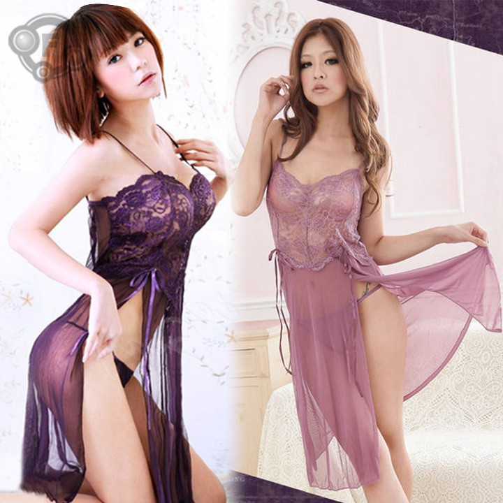 2014 NEW Sexy Lingerie Style Ladies Robes Night Gown Nightwear Sexy Underwear Long Dress 51(China (Mainland))